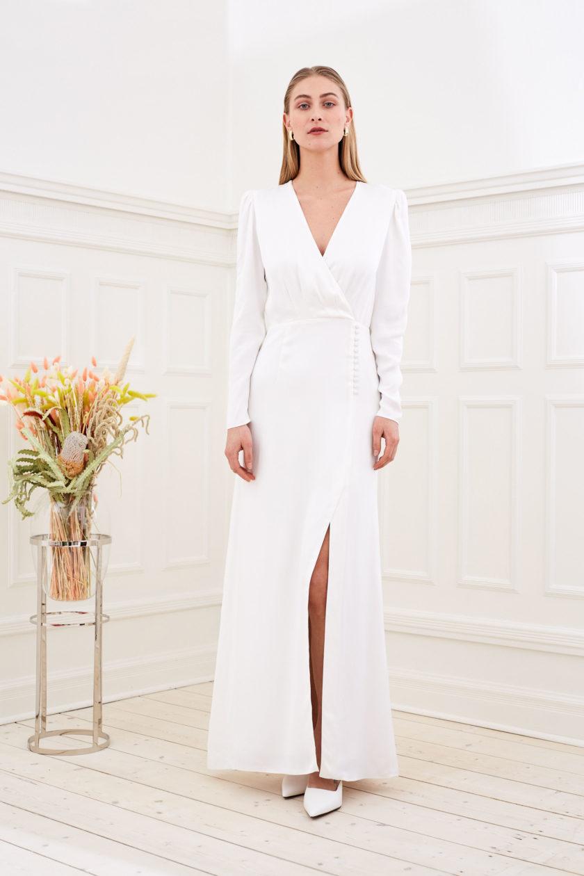 Farrah - Modern wedding dress long sleeve front