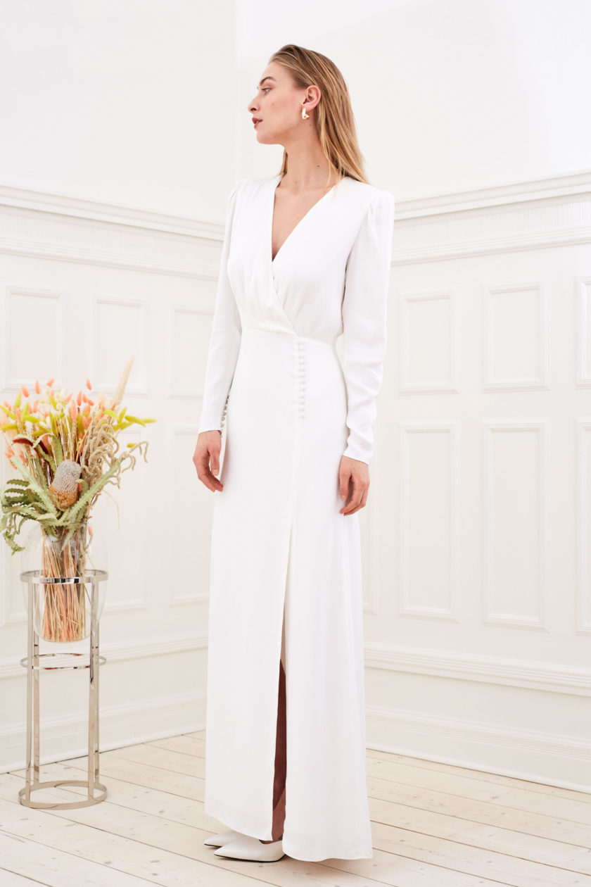 Farrah - Modern wedding dress long sleeve slit