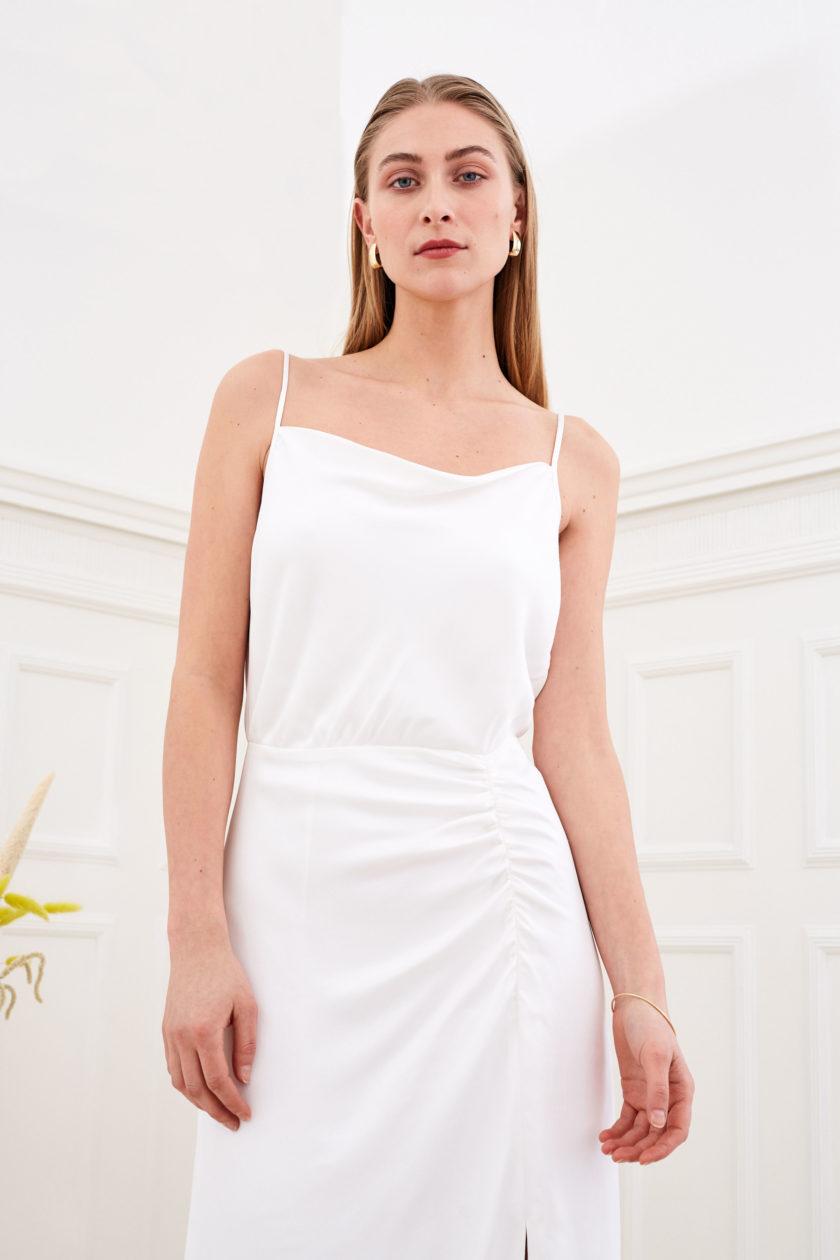 Daphne - Minimalist wedding dress front detail