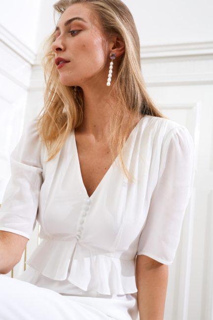 Artemis - Bianca minimal wedding dress short sleeves
