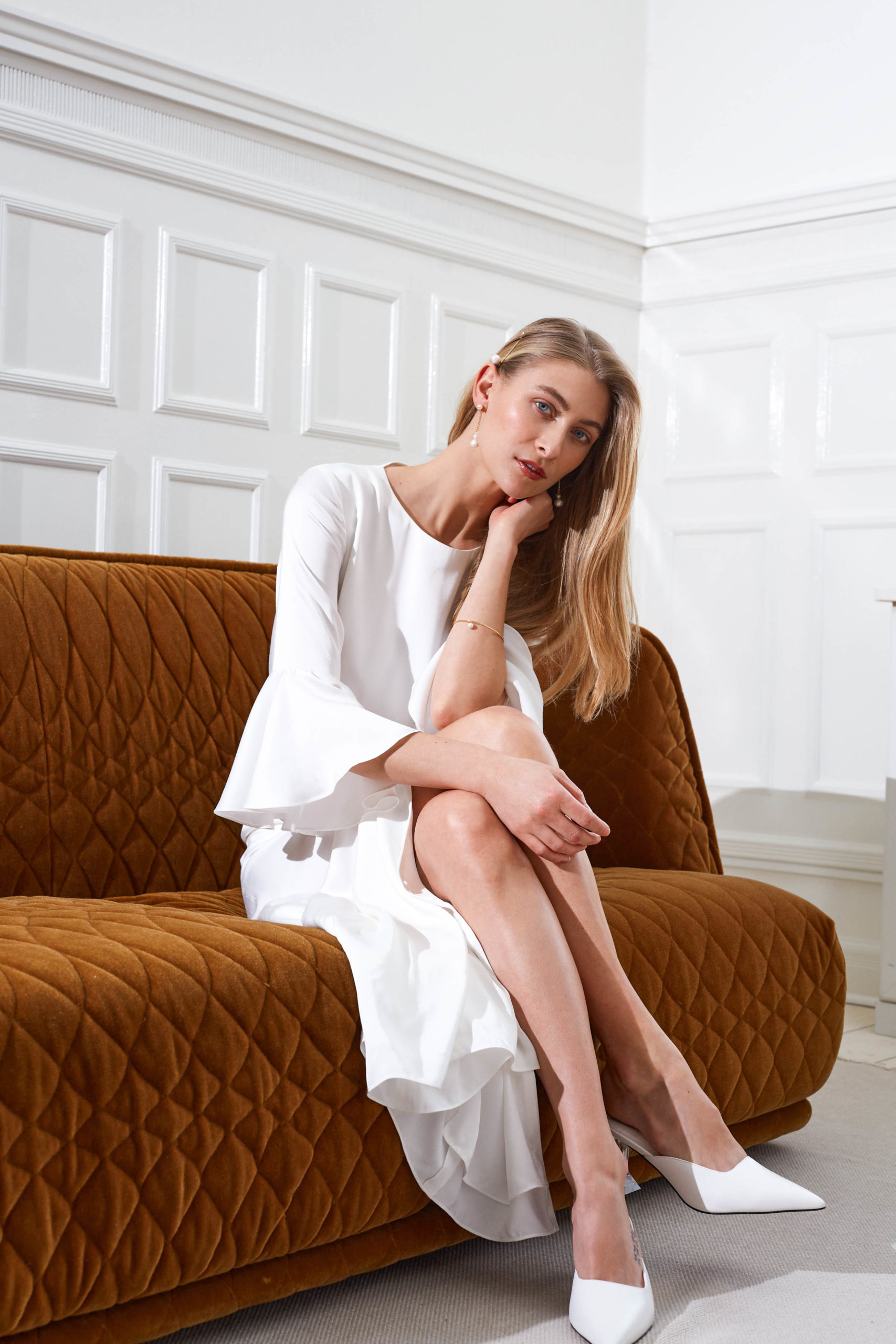 Marisa - Minimalist wedding dress boho sleeves