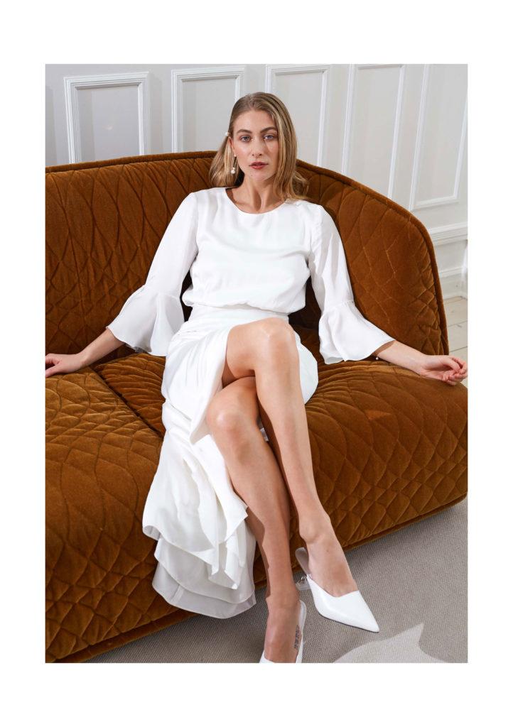 Artemis - Marisa minimal wedding dress flounce sleeves