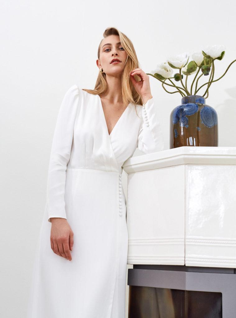 Artemis - Farrah minimalist wedding dress long sleeves wrap