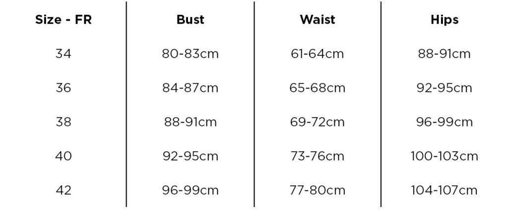 Artemis - Size chart