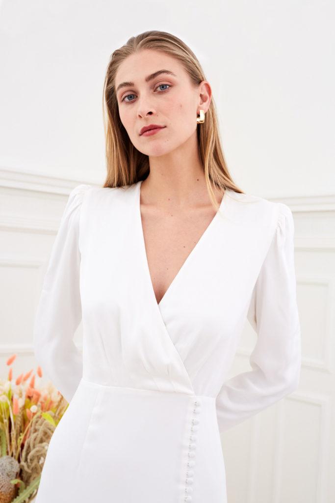 Farrah - Modern wedding dress long sleeve wrap buttons